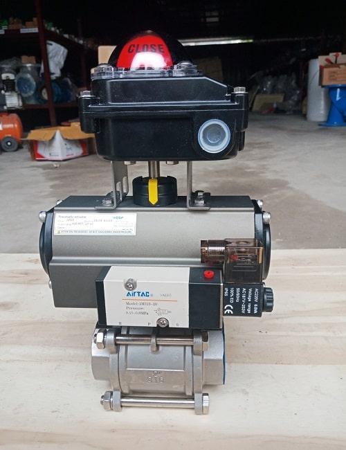 Van bi ren điều khiển khí nén có kèm van điện từ và công tắc giám sát