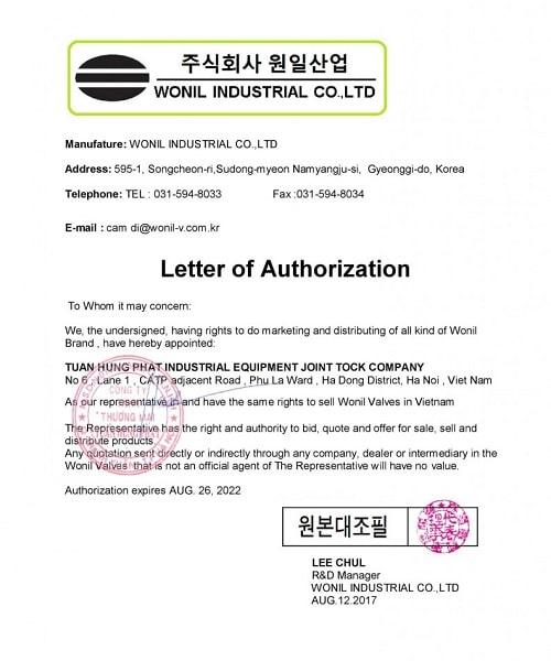 Thư ủy quyền phân phối độc quyền van Wonil Hàn Quốc tại Việt Nam