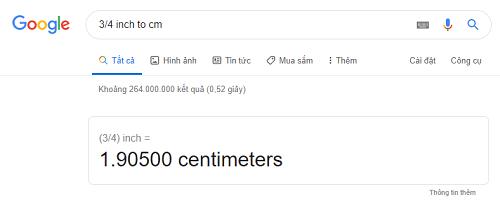Giá trị quy đổi 3/4 inch sang cm