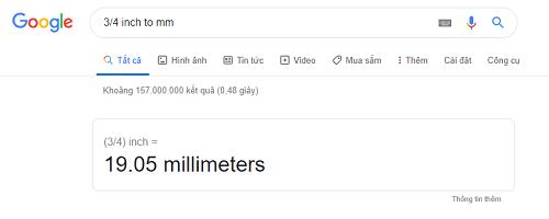 Kết qua quy đổi 3/4 inch sang mm khi sử dụng công cụ Google