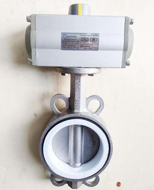 Van bướm inox 304 điều khiển khí nén Haitima Đài Loan